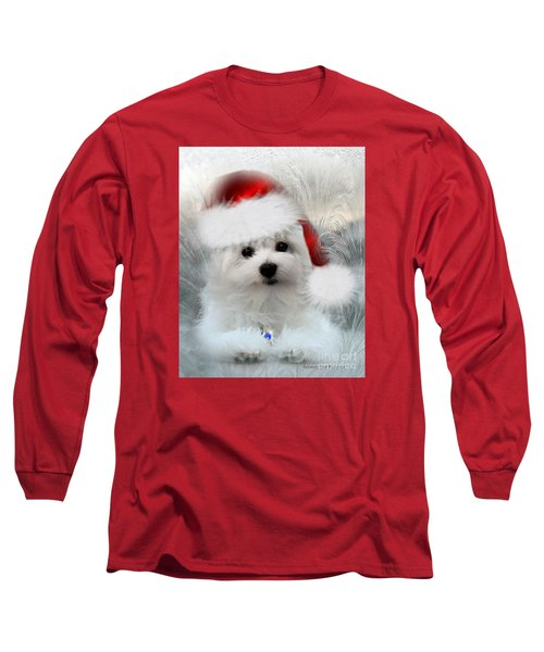 Hermes The Maltese At Christmas Long Sleeve T-Shirt