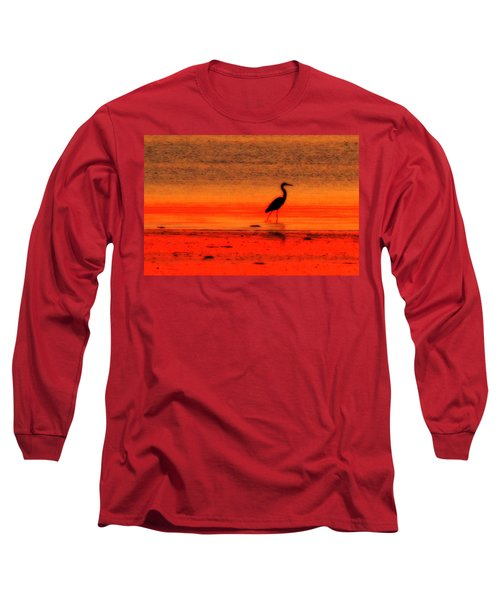 Heron At Dawn Long Sleeve T-Shirt