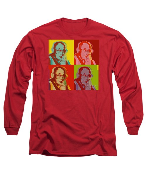 Long Sleeve T-Shirt featuring the digital art His Holiness The Dalai Lama Of Tibet by Jean luc Comperat