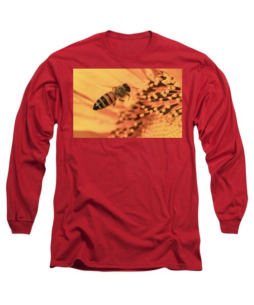 Long Sleeve T-Shirt featuring the photograph Honeybee And Sunflower by Chris Berry
