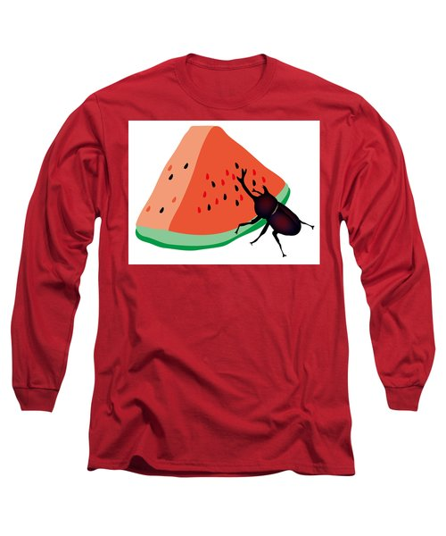 Horn Beetle Is Eating A Piece Of Red Watermelon Long Sleeve T-Shirt