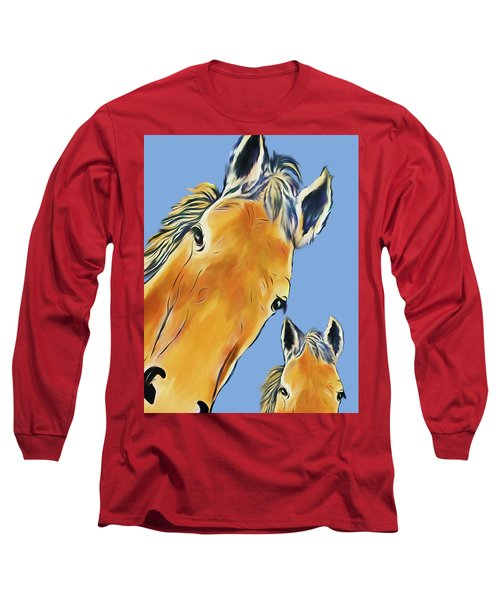 Horse Heads Long Sleeve T-Shirt by Terry Cork