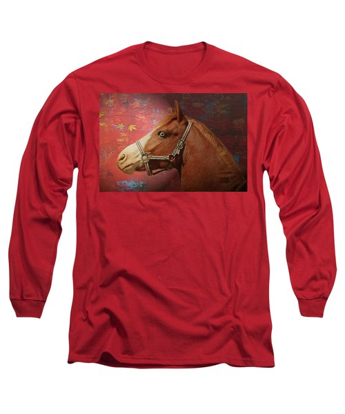 Horse Texture Portrait Long Sleeve T-Shirt