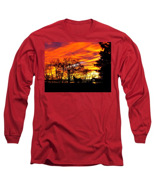 Horses And The Sky Long Sleeve T-Shirt by Donald C Morgan