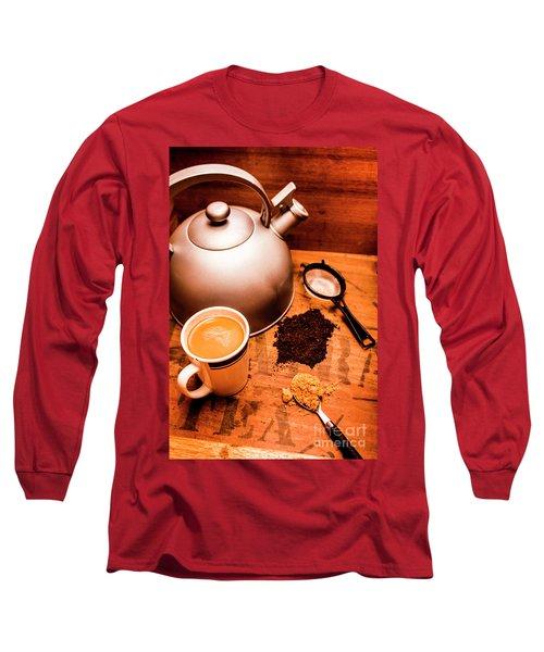 Hot Drink Details. Tea Print Long Sleeve T-Shirt