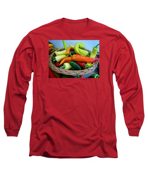 Hot Peppers Long Sleeve T-Shirt by Dee Flouton