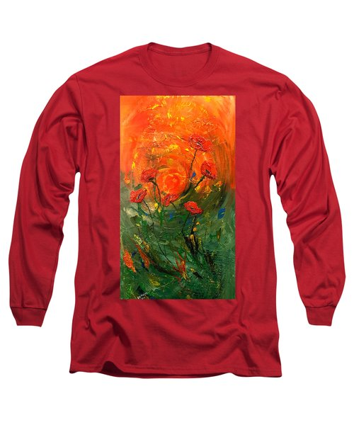 Hot Summer Poppies Long Sleeve T-Shirt by Dorothy Maier