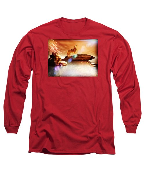 Long Sleeve T-Shirt featuring the digital art Howling Wolf by Jacqueline Lloyd