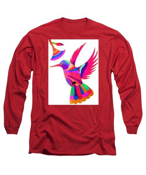 Humming Bird Long Sleeve T-Shirt by Kruti Shah