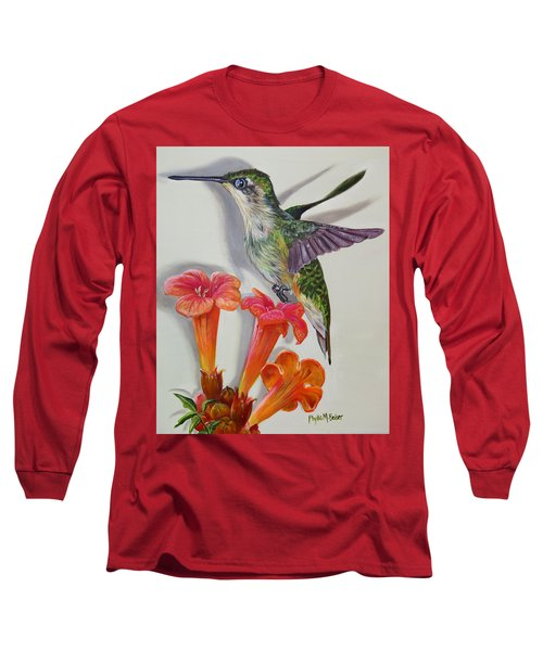 Hummingbird And A Trumpet Vine Long Sleeve T-Shirt by Phyllis Beiser