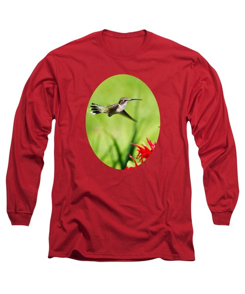 Hummingbird Hovering Over Flowers Long Sleeve T-Shirt