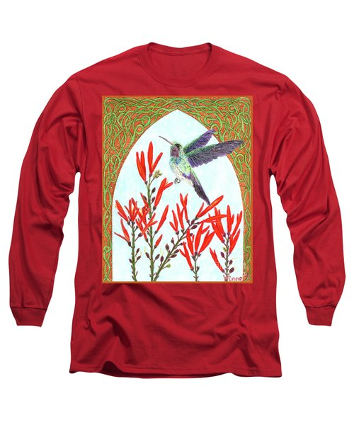 Hummingbird In Opening Long Sleeve T-Shirt by Lise Winne