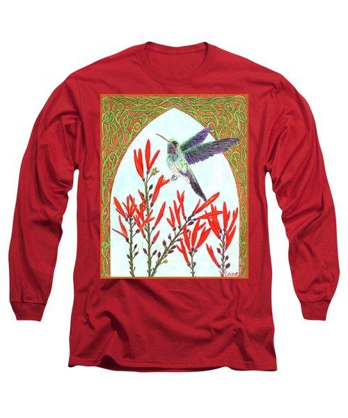 Hummingbird In Opening Long Sleeve T-Shirt