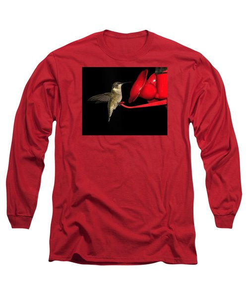 Long Sleeve T-Shirt featuring the photograph Hummingbird Nightcap by Phyllis Beiser