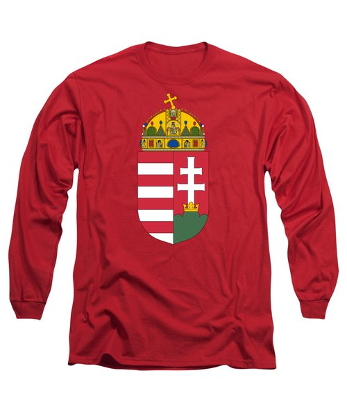 Long Sleeve T-Shirt featuring the drawing Hungary Coat Of Arms by Movie Poster Prints