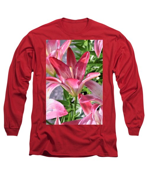 Exquisite Pink Lilies Long Sleeve T-Shirt