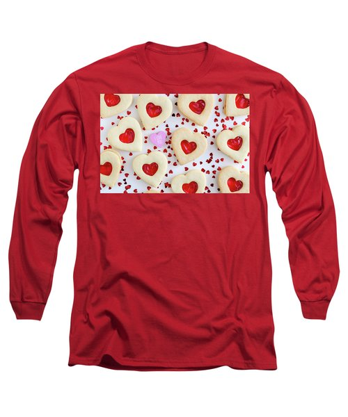 Long Sleeve T-Shirt featuring the photograph I Love You Heart Cookies by Teri Virbickis