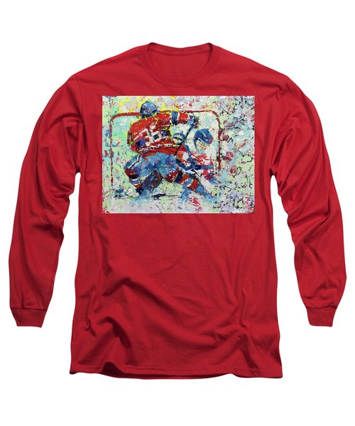 Long Sleeve T-Shirt featuring the painting Ice Hockey No1 by Walter Fahmy