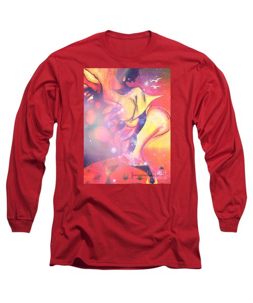 Long Sleeve T-Shirt featuring the mixed media Illusion Of A Man by Fania Simon