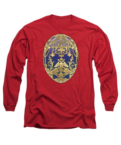 Imperial Faberge Eggs - Tsarevich Egg On Red Velvet Long Sleeve T-Shirt
