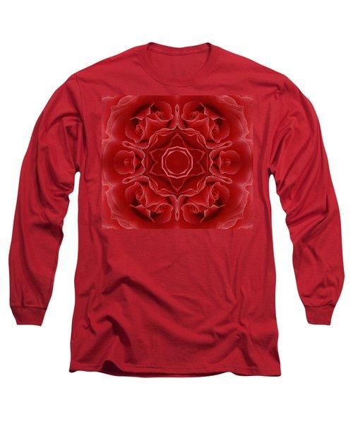 Imperial Red Rose Mandala Long Sleeve T-Shirt