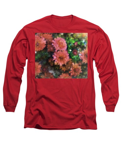 Bronze And Pink Mums Long Sleeve T-Shirt