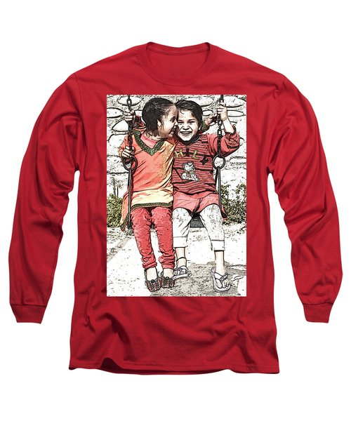 Long Sleeve T-Shirt featuring the digital art In Sync by Bliss Of Art