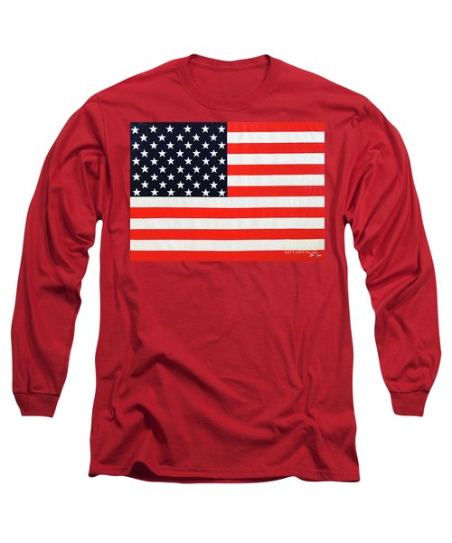 Pooling Independence Day Large Scale Oil On Canvas Original United States Flag Long Sleeve T-Shirt