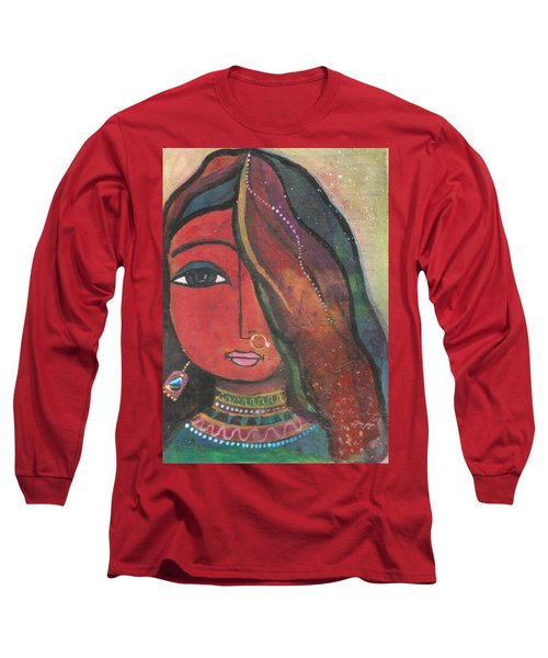 Long Sleeve T-Shirt featuring the mixed media Indian Girl With Nose Ring by Prerna Poojara