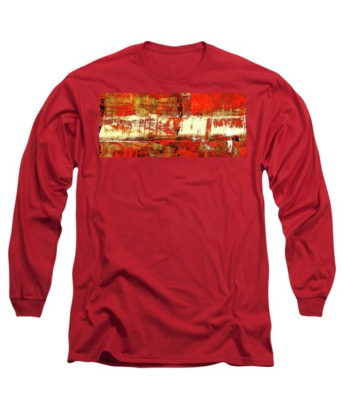 Indian Summer - Red Contemporary Abstract Long Sleeve T-Shirt by Modern Art Prints