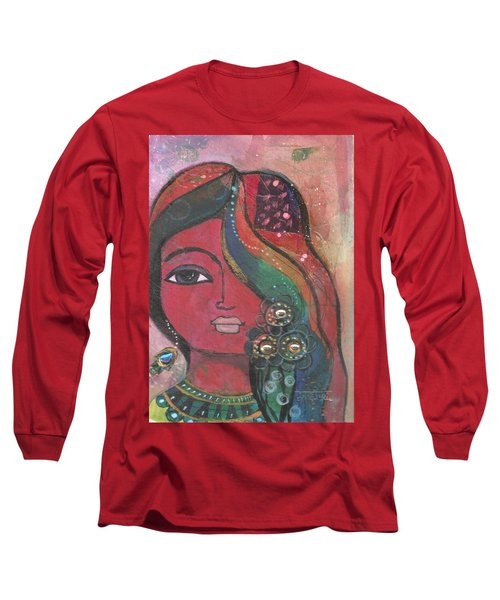 Long Sleeve T-Shirt featuring the mixed media Indian Woman With Flowers  by Prerna Poojara