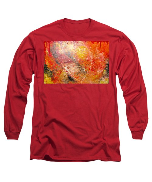 Long Sleeve T-Shirt featuring the painting Inferno by Jacqueline Athmann