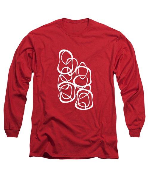 Long Sleeve T-Shirt featuring the digital art Interlocking - White On Red - Pattern by Menega Sabidussi
