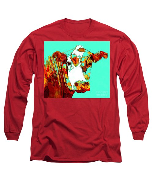 Turquoise Cow Long Sleeve T-Shirt