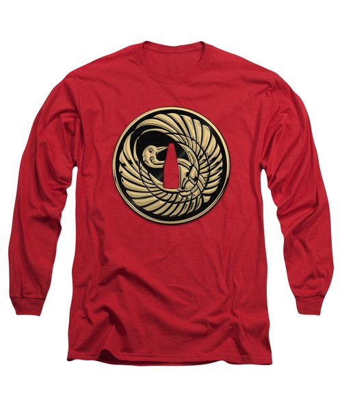 Japanese Katana Tsuba - Golden Crane On Black Steel Over Red Velvet Long Sleeve T-Shirt