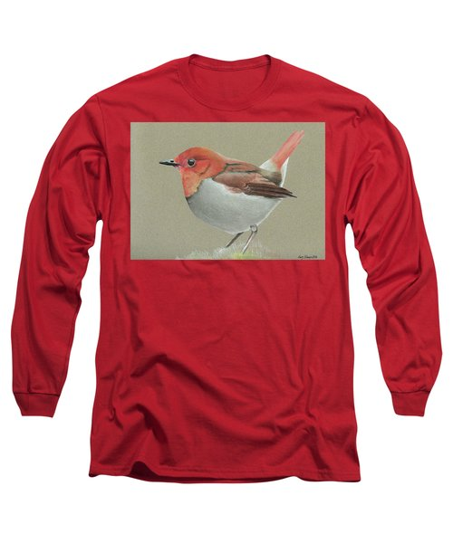Long Sleeve T-Shirt featuring the drawing Japanese Robin by Gary Stamp