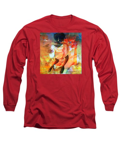 Long Sleeve T-Shirt featuring the mixed media Jeanine by Fania Simon