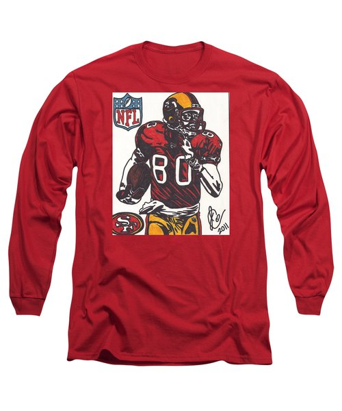 Long Sleeve T-Shirt featuring the drawing Jerry Rice by Jeremiah Colley