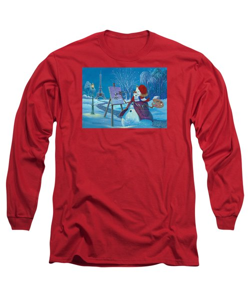 Long Sleeve T-Shirt featuring the painting Joyeux Noel by Michael Humphries