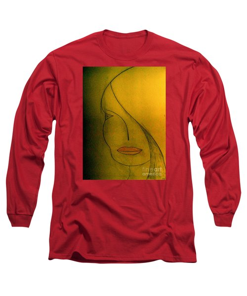 Long Sleeve T-Shirt featuring the drawing Just Thinking by Bill OConnor