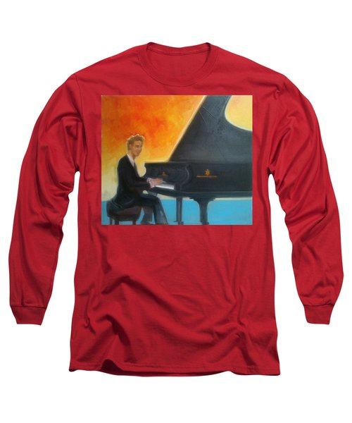 Justin Levitt At Piano Red Blue Yellow Long Sleeve T-Shirt
