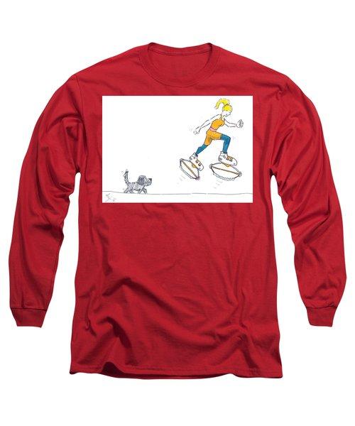 Kangoo Jumps Bouncy Shoes Walking The Dog Keep Fit Cartoon Long Sleeve T-Shirt