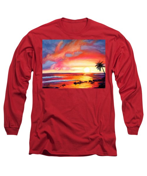 Long Sleeve T-Shirt featuring the painting Kauai West Side Sunset by Marionette Taboniar