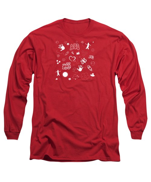 Kid's Playful Background Pattern And Shapes Long Sleeve T-Shirt by Serena King