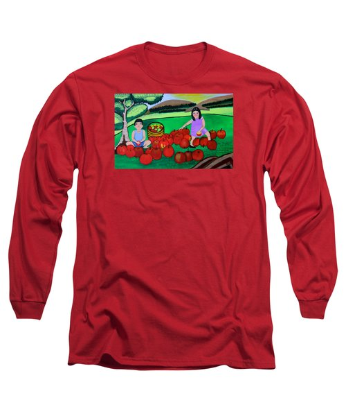 Kids Playing And Picking Apples Long Sleeve T-Shirt by Lorna Maza