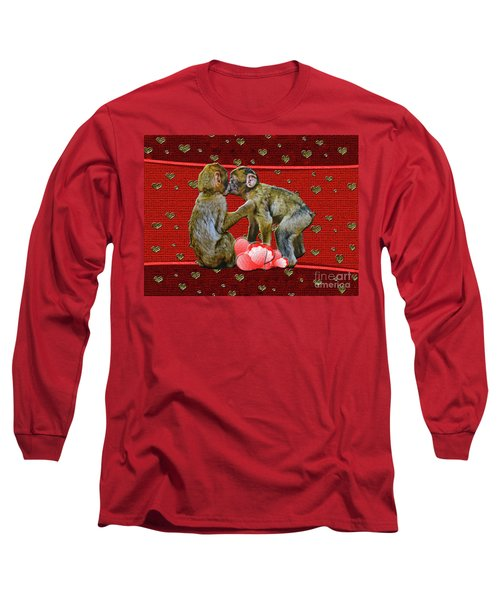 Long Sleeve T-Shirt featuring the photograph Kissing Chimpanzees Hearts by Rockin Docks Deluxephotos