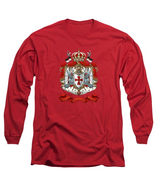 Knights Templar - Coat Of Arms Over Red Velvet Long Sleeve T-Shirt