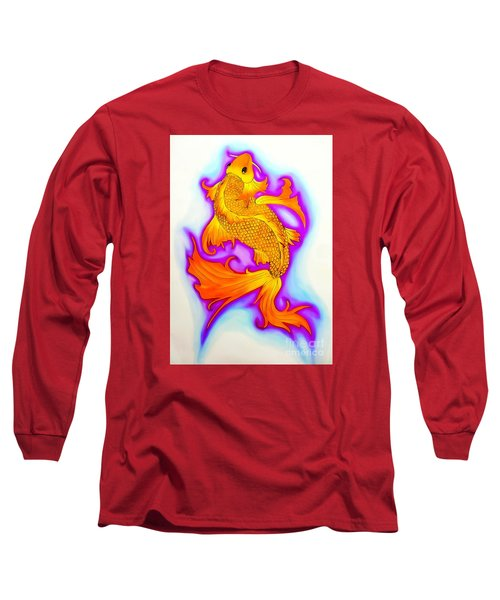 Koi Fish Water Color Edition Long Sleeve T-Shirt by Justin Moore