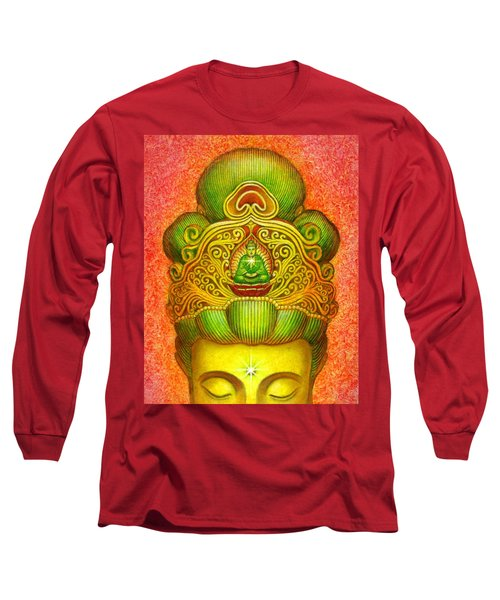 Long Sleeve T-Shirt featuring the painting Kuan Yin's Buddha Crown by Sue Halstenberg