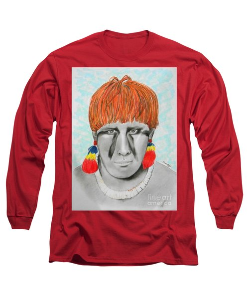 Kuikuro From Brazil -- Portrait Of South American Tribal Man Long Sleeve T-Shirt